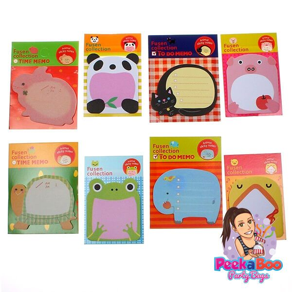 animal sticky notes party bags